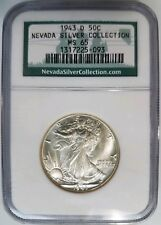1943 D Walking Liberty Half Dollar NGC MS 65 Nevada Silver Collection Hoard Coin