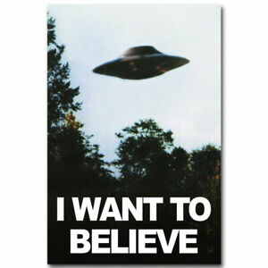 """The X-Files I Want To Believe TV Poster HD Canvas Art Print 12 16 20 24"""" Sizes"""