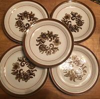 "SET (5) Vintage Brown Monterrey Stoneware by MSI Japan 10.25"" Dinner Plates EUC"