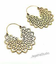 Ethnic galactic mandala hoop earrings beautiful geometric Bohemian gold brass