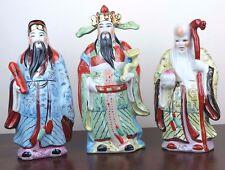 "3 Lucky Gods - Fu Lu Shou - 10"" tall Porcelain Chinese Figurine - Set of 3 New"