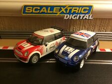 Scalextric Digital Mini Coopers Red & Blue Rare No1's *Excellent Condition*