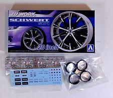 "Aoshima 1/24 Work Schwert SC4 20"" Wheel & Tire Set For Plastic Models 5276 (26)"