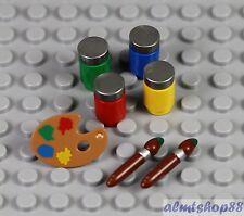 LEGO - Paint Brush Palette Jars Artist Utensil Lot Painter Series 4 Minifigure