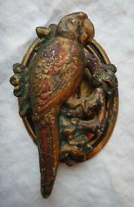 Victorian Cast Iron Painted Parrot Bird Door Knocker Interior Door Original Cond