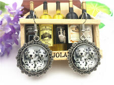Wholesale Cute Dog  Tibetan silver  Cabochon Glass Pendant Metal earrings