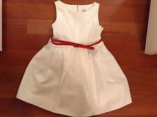 New Without Tags Zara Girls White Linen Cotton Lined Dress 4 5 4T 5T