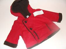 Gymboree Gingerbread Boy Holiday Red Brown Size 0-3 Months Coat Jacket NEW NWT