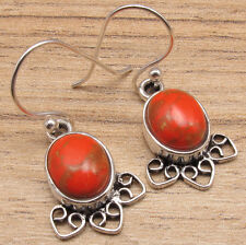 Orange Copper Turquoise Art Earrings ! Silver Plated Custom Fit Jewelry Handmade