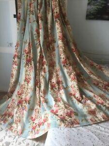 "HUGE MTM COLEFAX & FOWLER Ellerby Duck Egg Cabbage Rose Bouquet Curtains 125""x88"