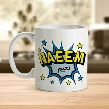 Pow Mug Blue/Pink with Personalised name in English and Arabic Islamic Eid Gift