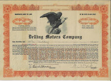NEW JERSEY 1924 Delling Motors Company Stock Certificate West Collingswood