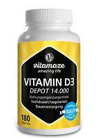 (€15,71/100g) Vitamin D3 Depot 14.000 i e (iu) hochdosiert - 180 veg Tabletten