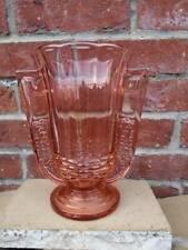 vase val saint lambert verre moulé rose piédouche étagé art déco