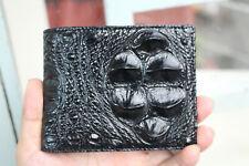 Black Genuine Crocodile/Alligator Skin Leather - Men's Bifold Wallet