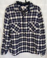 J. Crew Women's 1/2 Zip Flannel Pullover Shirt M Navy Blue White Plaid