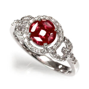0.85 ct tw Natural Deep Red Ruby & Diamond 14k White Gold Halo Engagement Ring