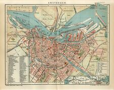 1901 AMSTERDAM CITY PLAN NETHERLANDS HOLLAND Antique Map dated