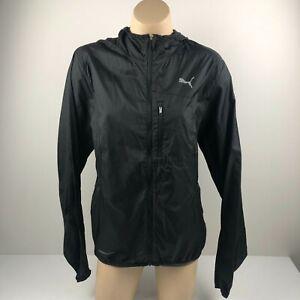 Puma Running Jacket Black Lightweight Zip Womens Size Small Windbreaker