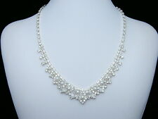 Bridal Wedding Jewelry Rhinestone Crystal Pearls Necklace Earrings Set N105