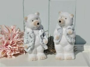 Dekofigur Eisbär Bär stehend 2 Modelle Keramik Landhaus Shabby Winter 11x9x21 cm