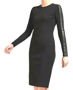 Polo Ralph Lauren Womens Long Sleeve Leather-Trim Dress Black Size XS uk 8 MU1