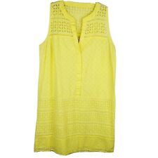 LOFT Bright Yellow Eyelit Summer Dress A-line Shift Women's Petite Size 6