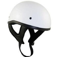 Outlaw Motorcycle Biker DOT Skull Cap Half Helmet Glossy White LARGE