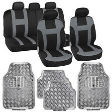 9 Pc Monaco Gray Racing Stripe Seat Cover w/ 4 Pc Gray Diamond Plate Rubber Mats