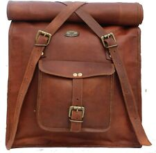 Men's New Genuine Goat Leather Folding Back Pack Laptop Rucksack Travel Bag