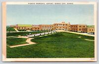 Kansas City Kansas~Fairfax Municipal Airport~Fountain in Front~1940s Postcard