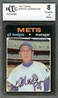 Gil Hodges Card 1971 Topps #183 Manager New York Mets BGS BCCG 8