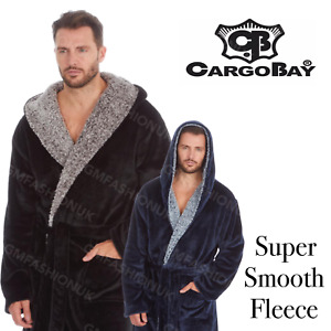 Mens Gents Dressing Gown Suggle Fleece Hooded Lounge Robe Soft Cozy Extra Warm