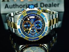 Invicta Mens 45mm Pro Diver Chronograph Two Tone Blue Dial Stainless Steel Watch