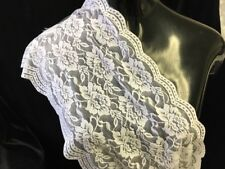 White Rose Stretch Lace Trim Double Scalloped 8 1/2 Inches