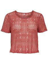44/17 NEU ONLY Damen Bluse T-Shirt Top Oberteil Spitze kurz Gr. M 38 rot braun