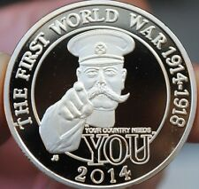 """Silver plated 2014 """"The first world war broke out in 100 year""""souvenir medal"""