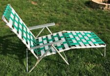 Vintage Aluminum Folding Lawn Chair Chaise Lounge ~ Green & White ~ FREE SHIP!