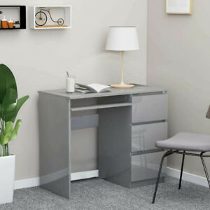 90cm Small Computer Table Desk w/ 3 High Gloss Storage Drawers Laptop Worksation