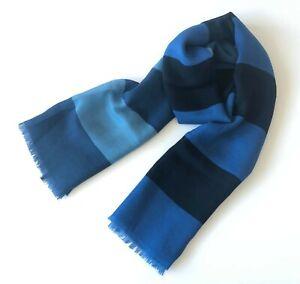 <SALE> 100% Pure Wool Men Long Scarf Winter Light Pashmina Navy Blue Stripe