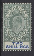 Gibraltar 1907 2/- Green & Blue SG 62a - lightly mounted mint