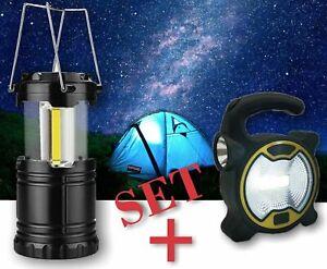 Campinglampe + COB Strahler,2er-SET Laterne,Taschenlampe,LED Leuchte