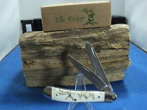 ER220DR ELK RIDGE TRAPPER POCKET KNIFE LASER DEER DESIGN