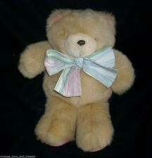 "11"" VINTAGE HALLMARK TAN / BROWN BABY TEDDY BEAR STUFFED ANIMAL PLUSH TOY W/ BOW"