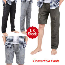 Men Quick Dry Cargo Work Hiking Pants Breathable Trousers Shorts Convertible HSL