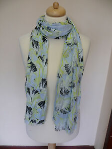 Whistles Green Flower Patterned Scarf On A Light Blue Background *LOVELY COLOURS