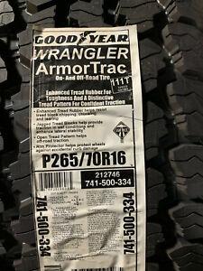 1 New 265 70 16 Goodyear Wrangler Armor Trac Tire