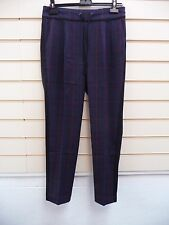 LADIES TROUSERS BLUE SIZE 26 LINED PANEL SQUARE DETAIL SMART BNWOT