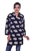 Indian Kurta Women Ethnic Top Tunic Elephant print plus size Black Color
