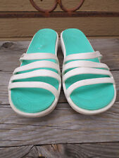 CROCS White Green Rubber Slides Sandals With 2 in. Heels Women's 10